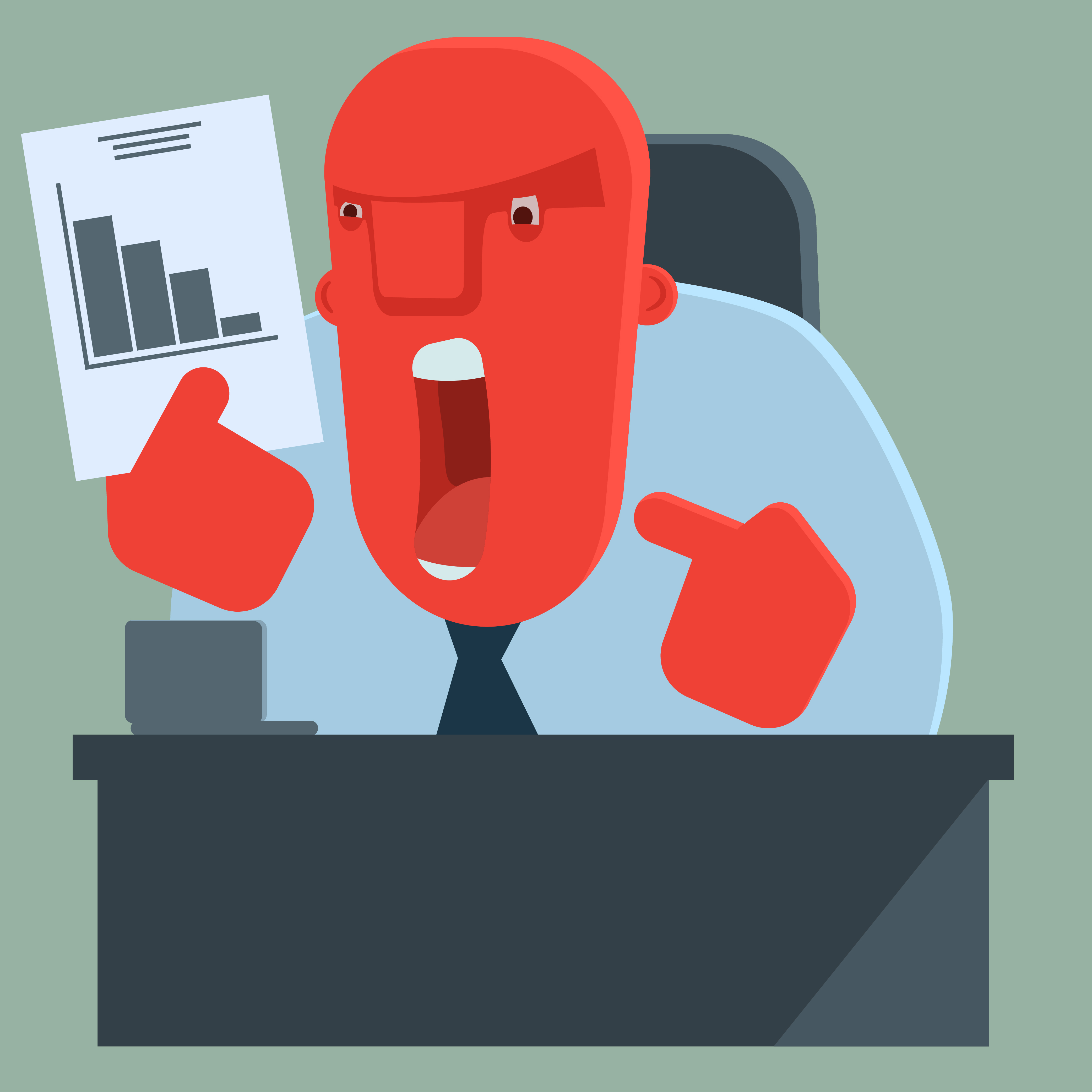 a cartoon manager - with a big red angry face