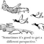 "man attempting to fly with ducks with caption: ""Sometimes it's good to get a different perspective."""