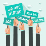 Men hands holding signs with text Vacancy, Job, We are hiring, Join us, Welcome. Vector colorful illustration in flat design