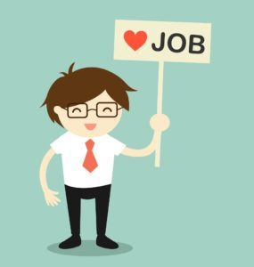 cartoon man holding a sign saying heart job