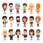 Loads of different cartoon people in different clothes, showing different personalities